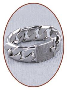 Edelstalen RVS Heren Vingerafdruk Gedenk Armband - GED002