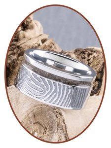 JB Memorials Cobalt Chrome Brede Dames Vingerafdruk As Ring - RB046DV