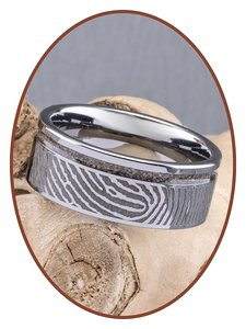 JB Memorials Tungsten Carbide Brede Vingerafdruk Heren As Ring - RB046HV