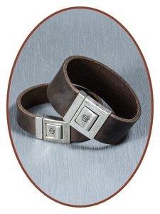 QúeB Memorials Lederen Gedenk Armband - ZA011G