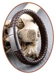 JB Memorials Edelstalen RVS Vintage Lederen As Armband - ZMA240