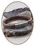 JB Memorials Edelstalen RVS Vintage Lederen As Armband - ASB024_