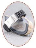 JB Memorials Edelstalen RVS Lederen Gedenk (As) Armband - ZAS050_