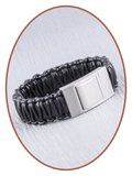 JB Memorials Edelstalen RVS Lederen Gedenk (As) Armband - ZAS013