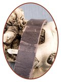 JB Memorials Edelstalen RVS Vintage Lederen Gedenk (As) Armband - ZAS057_