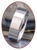 JB Memorials Edelstalen Gepolijste Vingerafdruk Gedenk Ring 8mm - TR012W_