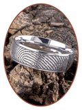 JB Memorials Edelstalen Diep Gegraveerde Gepolijste Vingerafdruk Gedenk Ring - TR007_
