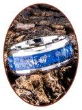 JB Memorials Edelstalen As Ring 'Sky Blue Glow' - CRA013_