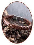 JB Memorials Edelstalen RVS Vintage Lederen As Armband - ASB028_