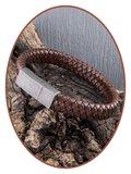JB Memorials Edelstalen RVS Vintage Lederen As Armband - ASB028