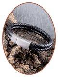 JB Memorials Edelstalen RVS Vintage Lederen As Armband - ASB029