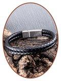 JB Memorials Edelstalen RVS Vintage Lederen As Armband - ASB029_