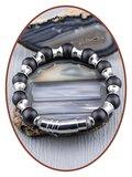 JB Memorials RVS Onyx XL Heren As-armband-KHA017V