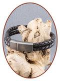 JB Memorials Edelstalen RVS Vintage Lederen As Armband - ASB024C_
