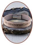 JB Memorials Edelstalen RVS / Leren Graveer (As) Armband met vulschroef - ZAS014V_