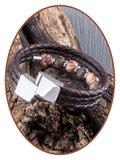 JB Memorials Edelstalen RVS / Leren (As) Kralen Armband met vulschroef - ZAS014KM_