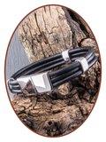 JB Memorials Edelstalen RVS / Leren Graveer (As) Armband met vulschroef - ZAS014HA_