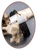 JB Memorials Edelstalen RVS / Leren (As) Armband met vulschroef - VAS008_