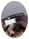 JB Memorials Edelstalen RVS / Leren (As) Kralen Armband met vulschroef - VAS009_