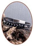 JB Memorials Edelstalen RVS / Leren (As) Kralen Armband met vulschroef - VAS009
