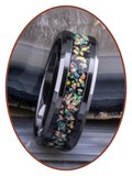 JB Memorials Tungsten Carbide of Black Ceramic Opaal  As Ring - OP400_