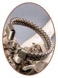 JB Memorials Edelstalen RVS Vintage Bronze Lederen As Armband - ASB024E_