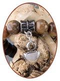 JB Memorials Frosted Agaat Bronzite As Armband - KHA022_