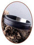 JB Memorials Edelstalen RVS Special Lederen Gedenk (As) Armband - ZAS057_