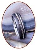 JB Memorials Tungsten Carbide Zilver/Zwart As Ring 8mm - WR017H_