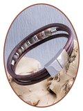 JB Memorials Edelstalen RVS / Leren (As) Kralen Armband met vulschroef - ZAS014XB_