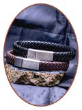 JB Memorials Edelstalen RVS Vintage Lederen As Armband 13mm - ASB024L_