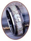 JB Memorials Ceramic Zirconium As Ring Abalone Shell 8mm - RB141SE