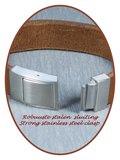 JB Memorials Edelstalen RVS Lederen Gedenk (As) Armband - ZAS007_