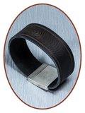 QúeB Memorials  Lederen Heren (Vingerafdruk / Tekst) As Armband - ZA002_
