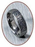JB Memorials Titanium Diep Gegraveerde Matte Vingerafdruk Gedenk Ring - TIR001