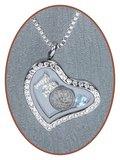 316L Edelstalen JB Memorials Glas Hart Medaillon Ashanger - RSP066A