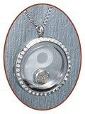 316L Edelstalen JB Memorials 'Yin-Yang' Glas Medaillon Ashanger - RSP086Y