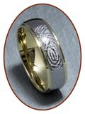 Tungsten Carbide 'Gold' Vingerafdruk Graveer Ring - AA001V