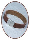JB Memorials Edelstalen RVS Lederen Tekst Gedenk Armband - GEL001