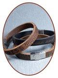 JB Memorials Edelstalen RVS Lederen Tekst Gedenk Armband - GEL002