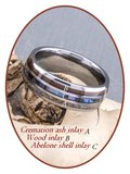 JB Memorials Exclusive Natureline Wood / Abalone Shell Tungsten As Ring - WR006_
