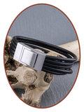 JB Memorials Edelstalen RVS Lederen Gedenk (As) Armband - ZAS012