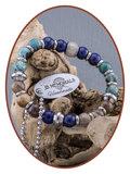 JB Memorials Versteend Hout Turquoise  Lapiz Lazuli Dames As Armband - KHA012