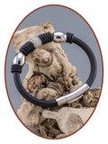 Edelstalen RVS / Siliconen As Armband - KHA006