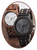 JB Memorials Nature-Line© Houten Heren As Chronograaf Horloge - HORL001