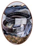 JB Memorials Edelstalen RVS / Leren Graveer (As) Armband met vulschroef - ZAS014R_