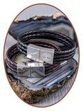 JB Memorials Edelstalen RVS / Leren Graveer (As) Armband met vulschroef - ZAS014R