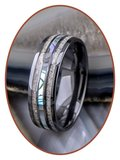 JB Memorials Exclusive Natureline Abalone Shell Ceramic Zirkonium Duo As Ring - WR013D