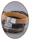 JB Memorials Edelstalen RVS / Leren Graveer (As) Armband met vulschroef - ZAS014_