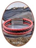 JB Memorials Edelstalen RVS / Leren Graveer (As) Armband met vulschroef - ZAS014RED_
